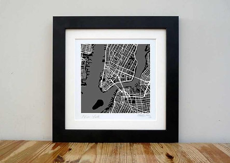 "SOLD OUT New York Map - 8""x 8"""