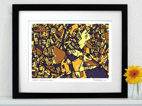 DULWICH & BRIXTON, LONDON ART MAP PRINT
