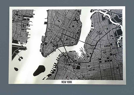 New York Aluminium Art Map 90 x 60cm