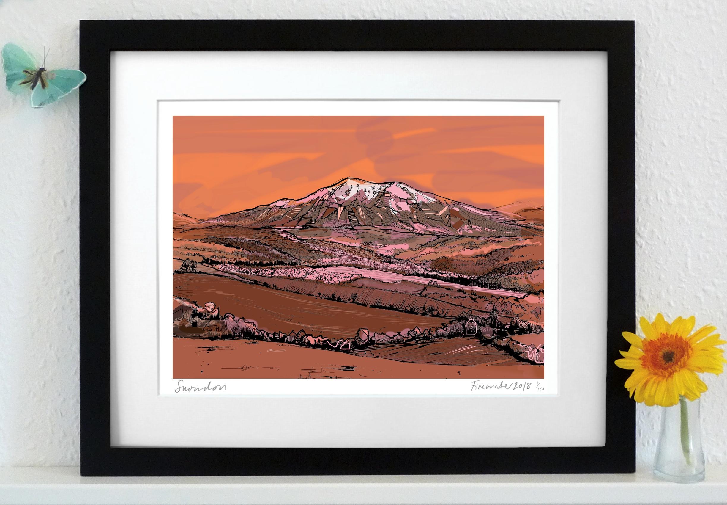Snowdon Art Print - Red