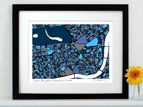 CHELSEA, KENSINGTON & WESTMINSTER, LONDON ART MAP PRINT
