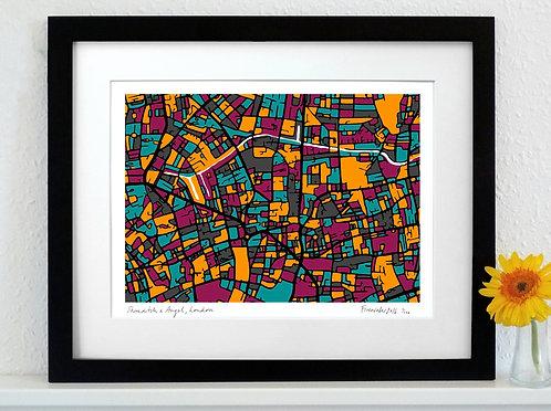 SHOREDITCH & ANGEL, LONDON ART MAP PRINT