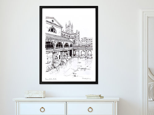 THE ROMAN BATHS, BATH LANDSCAPE PRINT