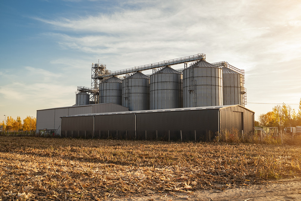 grain silos in a harvesting field at sunset
