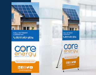 Banner/Pendon Comercial.  Cliente: Core Energy Solar (Imagen: Vista previa/Fotomontaje)