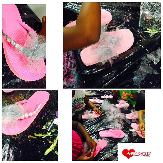 Fun Fun!! The girls are bedazzling their flip flops!!! They are so cute!!! #camploveyourself