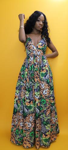 Green Long Floral dress