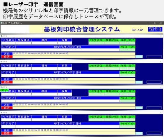 レーザー印字通信画面