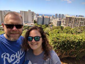 Amanda & Josh overlooking Honolulu