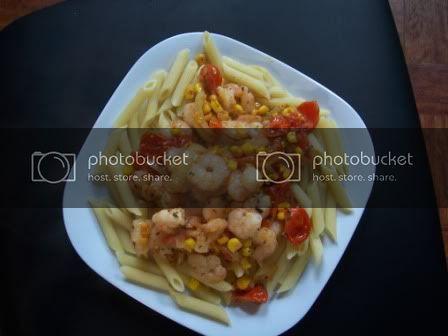 Corn, Tomato & Shrimp Saute