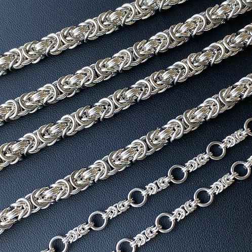 925 Sterling Silver Byzantine Chainmail Bracelet