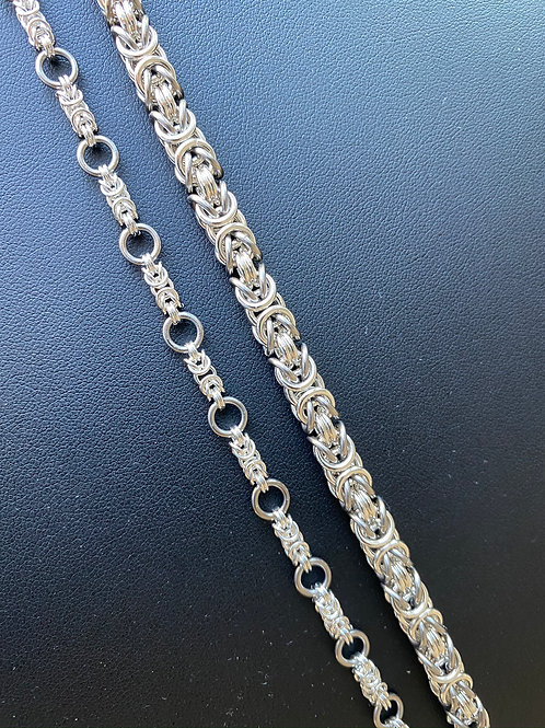 925 Sterling Silver + Titanium Couple Chainmail Bracelet