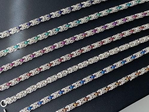 925 Sterling Silver + Niobium Chainmail Bracelet