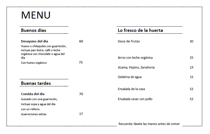 EL Arbol Cafe - Menu