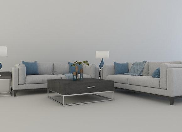Matteese sofa set in gray & blue