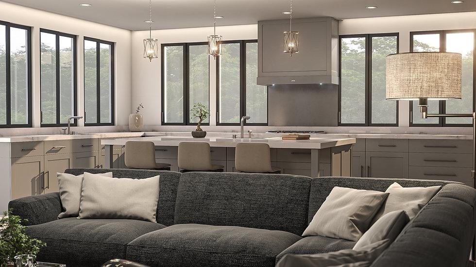 3D Rendering Kitchen Open Concept