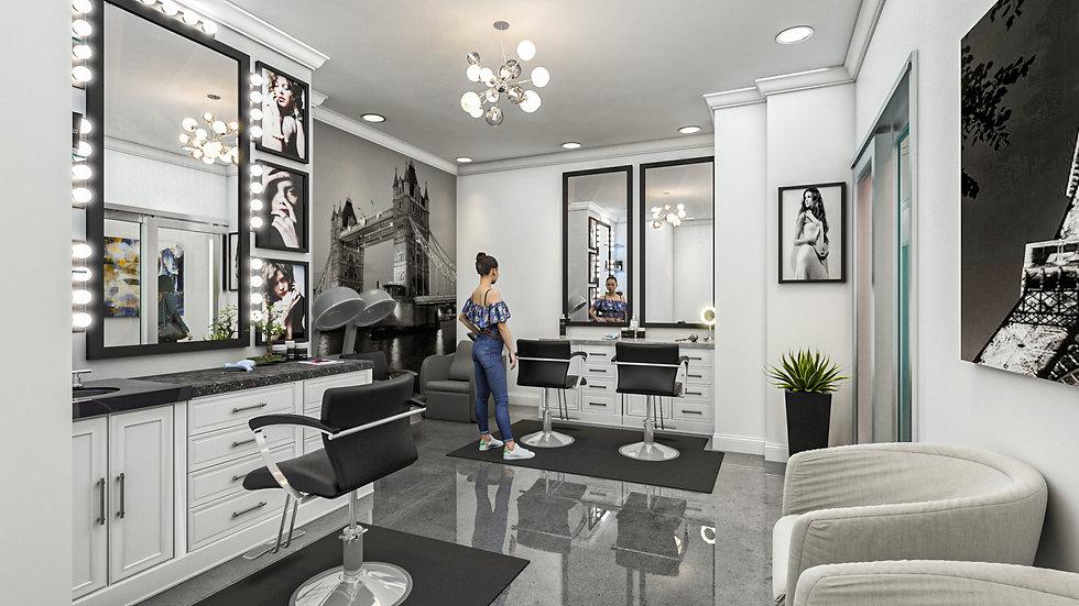 3D Rendering Salon large suite