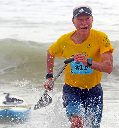 That's me finishing a SUP race
