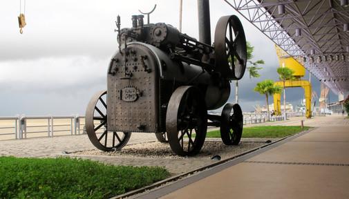 Old steam engine, refurbished docks