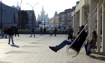 Swings in front of the Mayakovskaya Metro Station