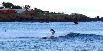 Catching a wave in Hanga Hoa