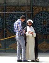 Conversation outside mosque