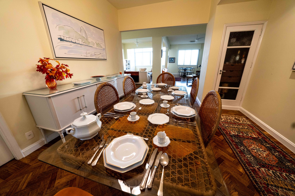 Dining table set for six