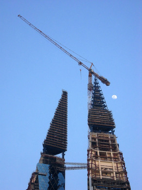 Construction with full moon