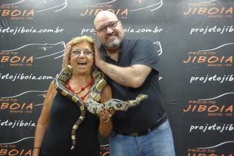 Zaida Knight experiences a boa constrictor