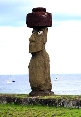 Restored moai at Ahu Ko Te Riku