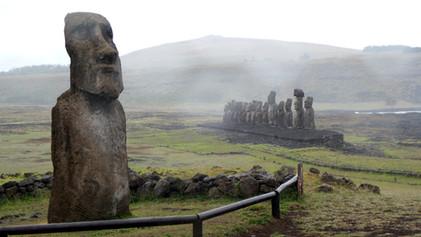 """""""Traveling Moai"""" at Ahu Tongariki"""