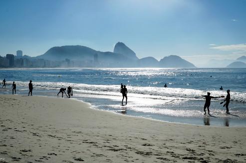 Frescobol players on Copacabana Beach