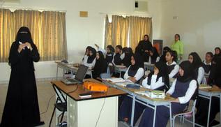 Teaching a class at a girl's school
