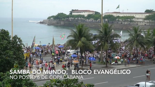 Video of two blocos marching in Copacabana
