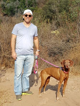 Son Jonathan and his dog, Amber