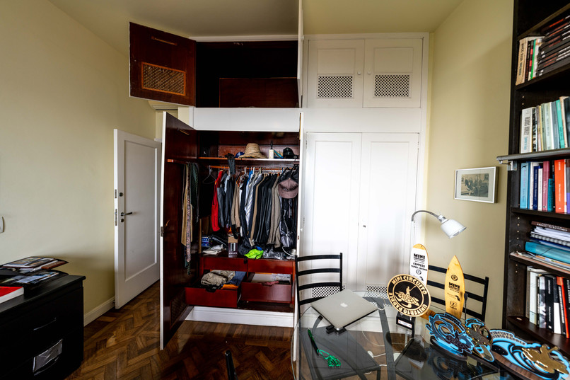 Office with one closet and storage open