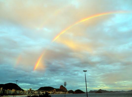 Rainbow over Copacabana Beach