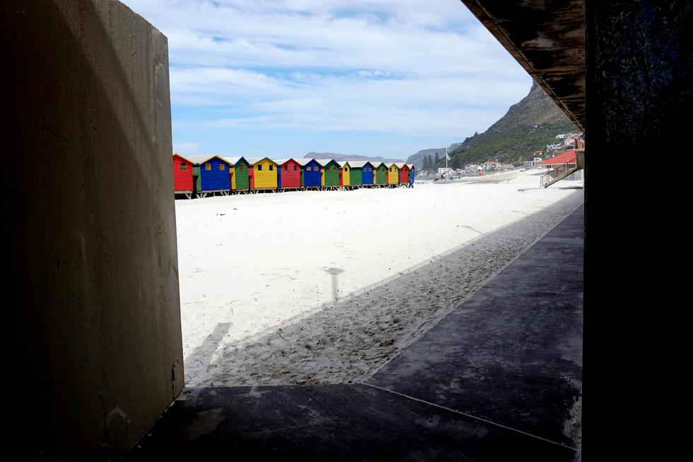Victorian bath houses at Muizenberg Beach