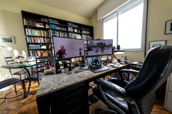 Office desk with dual 27 inch monitors