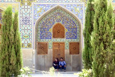 Couple in mosque garden, Ishfahan, Iran