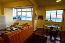 Living room windows at dawn