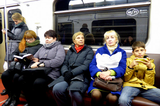 Riders in Moscow Metro