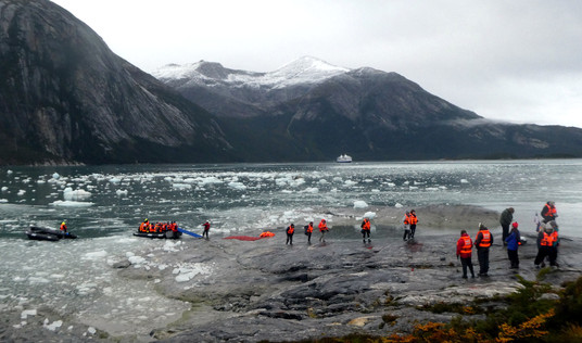 Disembarking to view Pia Glacier