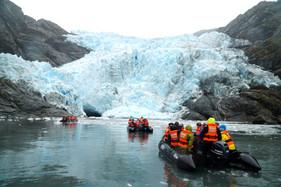 Zodiacs approach Condor Glacier
