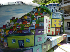 Wall painting in Favela Experience Hostel, Vidigal
