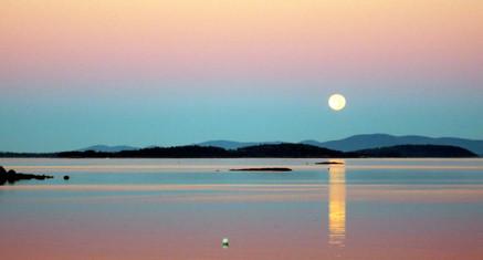 Moonset over Penobscot Bay