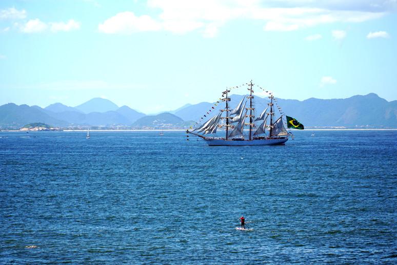 Cisne Branco sails by Copacabana Beach