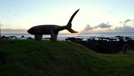 Fish sculture at dusk