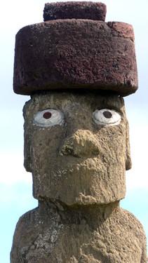 Head of restored moai at Ahu Ko Te Riku