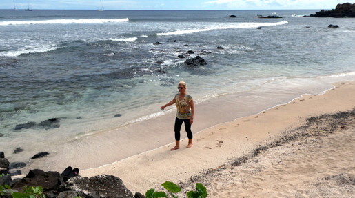 Zaida Knight on beach in Hanga Roa